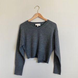 J.O.A Grey Asymmetrical Crop Sweater